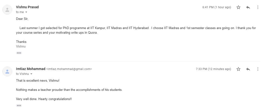 PhD - IIT Madras, IIT Kanpur, IIT Hyderabad